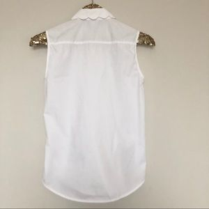82f4f089bbd55 ASOS Tops - ASOS Sleeveless Scallop Collar White Shirt